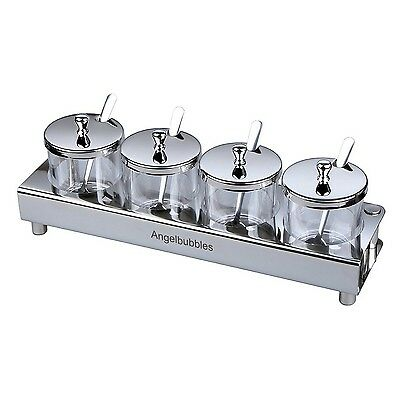 Angelbubbles Condiment Jars 304 Stainless Steel With Spoon & Rack (4 Jars) New
