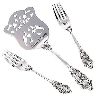 Lillian Rose 9.5-Inch Mr. and Mrs. Server and 6.5-Inch Two Forks Silver New