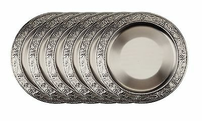 Old Dutch Embossed Victoria Charger Plates 13-Inch Antique Pewter Set of 6 New