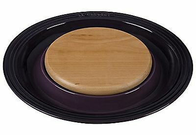 Le Creuset of America Stoneware Round Platter with Cutting Board Cassis New
