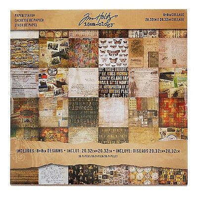 Tim Holtz Idea-ology Collage Mini Paper Stash 36-Sheet Double-Sided Cards... New