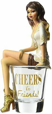 """Hiccup by H2Z 73703 Cheers to Friends Girl in Shot Glass 5-3/4"""" High Mult... New"""