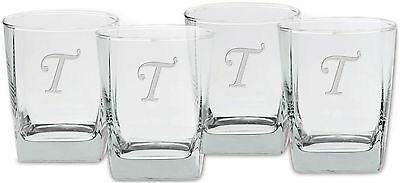 Culver Deep Etched Double Old Fashioned Glass 13-Ounce Monogrammed Letter... New