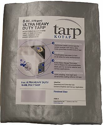 Kotap TUH-1824 Finished Size Ultra Heavy-Duty 8-Ounce/16-Mil Poly Tarp 18... New