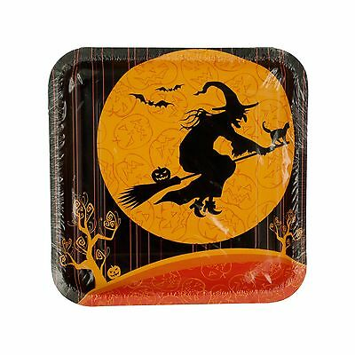 Kole Imports PC121 Witches Crossing Square Halloween Plates New