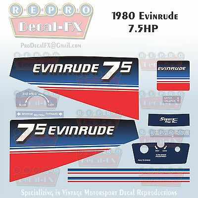 1980 Evinrude 7.5 HP Outboard Reproduction 11 Piece Marine Vinyl Decals 8RCS