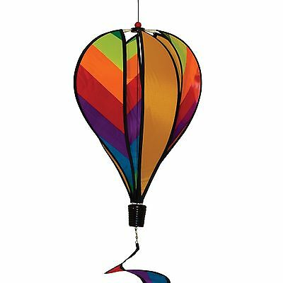 In The Breeze Rainbow Striped Hot Air Balloon Wind Spinner 6-Panel New