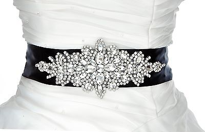 QueenDream Sash Belt Wedding belt sashs Bridal belts-black New