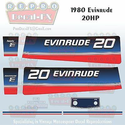 1986 Evinrude 30 HP Electric Start Outboard Reproduction 9Pc Marine Vinyl Decals