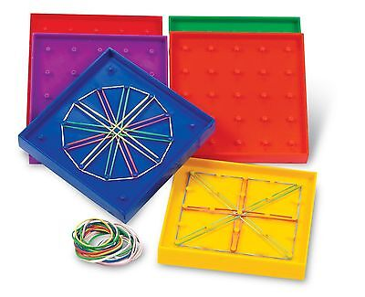 Learning Resources 5-Inch Double-Sided Assorted Geoboard Set of 6 New