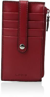 """Lodis Audrey 5"""" Card Case with Zipper Red One Size New"""