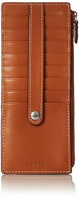 Lodis Audrey Zipper Pocket Card Case Toffee One Size New