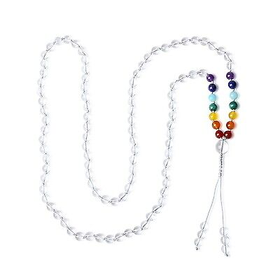 AmorWing 6mm Tibetan Hand Knotted 108 Mala Beads 7 Chakra Clear Quartz He... New