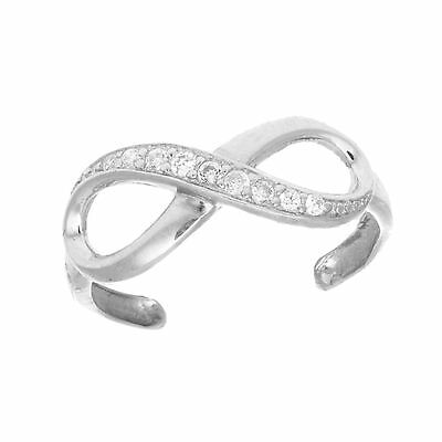 .925 Sterling Silver CZ Infinity Toe Ring Body Jewelry Adjustable New