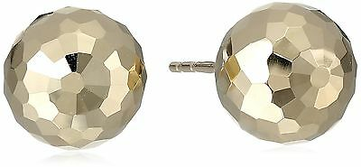 14k Yellow Gold 9mm Faceted Ball Stud Earrings New