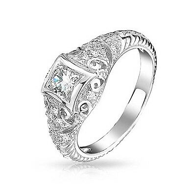 Bling Jewelry 925 Silver Art Deco Style CZ Solitaire Engagement Ring Vint... New