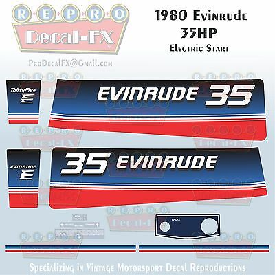 1979 Johnson 35 HP Electric Start Outboard Reproduction 16Pc Marine Vinyl Decals