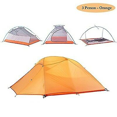 WEANAS 2-3 Person 4 Seasons Double Layer Backpacking Tent Ultralight Alum... New
