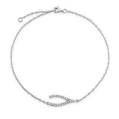 Bling Jewelry Sterling Silver Pave CZ Wishbone Ankle Bracelet Adjustable New