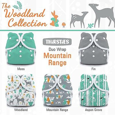 Thirsties Package-Snap Duo Wrap-Woodland Collection Mountain Range Size O... New