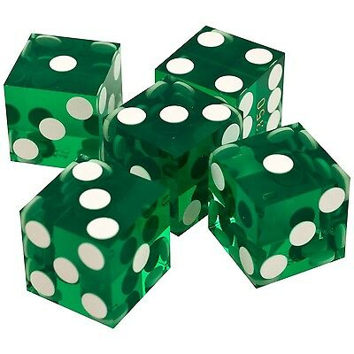 Trademark Poker A-Grade Serialized Set of Casino Dice Green 19mm New