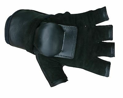 Hillbilly Wrist Guard Half Finger Gloves (Black Medium) New