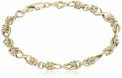 "14k Yellow Gold Bizantine Link Bracelet 7"" New"