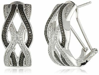 Sterling Silver Diamond Intercrossed Omega Back Earrings New