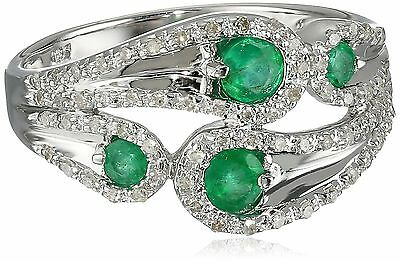Sterling Silver Gemstone and Diamond Paisley Ring (1/5 cttw I-J Color I2-... New