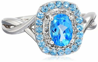 Sterling Silver Swiss Blue Topaz and Diamond (0.10 cttw I-J Color I3 Clar... New
