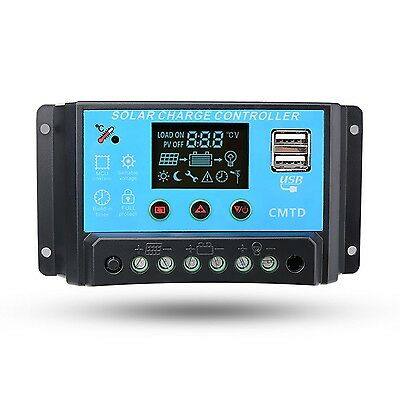 Sunix 20A 12V/24V Solar Charge Controller Charge Regulator Intelligent  U... New