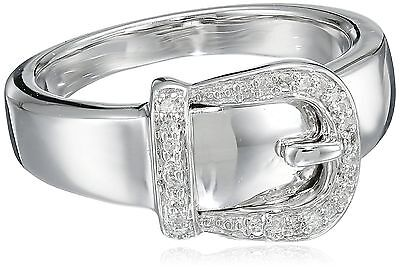 Sterling Silver Buckle Diamond Buckle Ring (.05 cttw I-J Color I2-I3 Clar... New