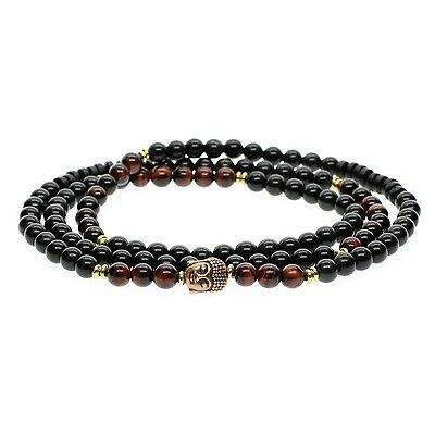 AmorWing 108 Mala 6mm Red Tiger Eye and Obsidian Stretch Bracelet/Necklac... New