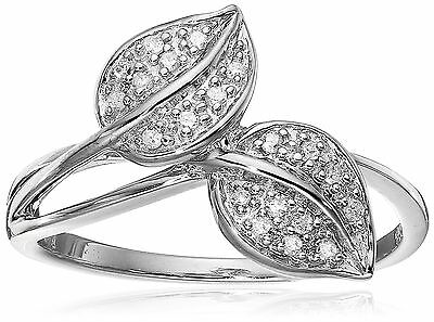 Sterling Silver Leaf Diamond Ring (1/10 cttw I-J Color I2-3 Clarity) Size 6 New