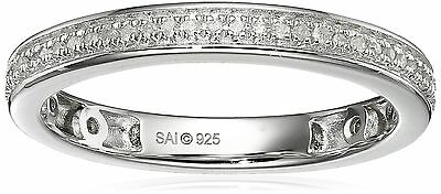 Sterling Silver White Diamond Band Ring (1/10cttw I-J Color I3 Clarity) S... New