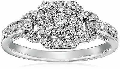 Sterling Silver Cluster Octagon Diamond Ring (1/4 cttw H-I Color I2 Clari... New
