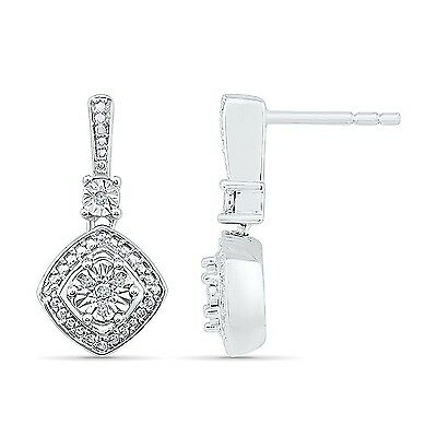 Sterling Silver White Round Diamond Fashion Earring (0.03 Cttw) New