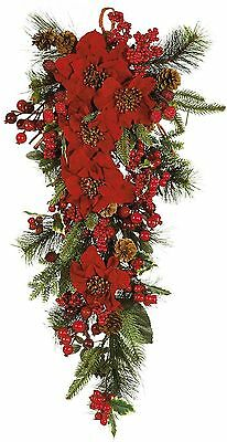 Nearly Natural 4656 Poinsettia Teardrop Wreath Red/Green New