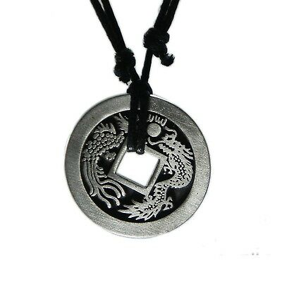 Exoticdream Feng Shui Chinese Lucky Dragon / Peacock Coin Necklace Casino... New
