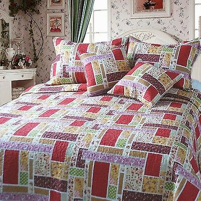DaDa Bedding DXJ103269 Colorful Cotton Patchwork 3-Piece Quilt Set Twin Red New