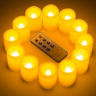 Kohree Set of 12 Flameless Votive Candle Light with Remote& Timer Pillar ... New