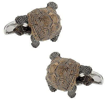 Cuff-Daddy Turtle Cufflinks Hand Painted New