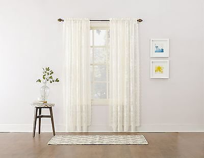 Easy Care Fabrics Classic Scalloped Lace Floral Curtain 58-Inch X 63-Inch... New