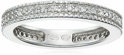 Sterling Silver Diamond Stackable Band Ring (1/4 cttw J Color I3 Clarity) 8 New