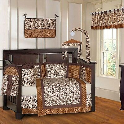 BabyFad Leopard Brown 10 Piece Baby Crib Bedding Set New