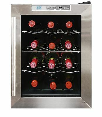 Vinotemp VT-12TEDS Thermo-Electric Digital 12-Bottle Wine Chiller Black a... New