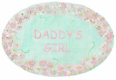 The Kids Room by Stupell Daddy's Girl with Pink Daisy Border Oval Wall Pl... New