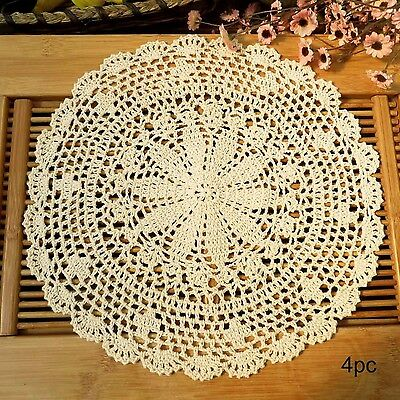 kilofly Crochet Cotton Lace Table Placemats Doilies Value Pack 4pc Persia... New