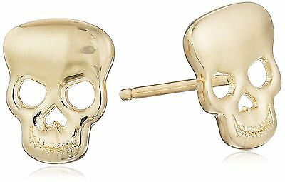 14k Yellow Gold Skull Stud Earrings New