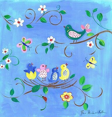 The Kids Room by Stupell Birds in the Nest Square Wall Plaque Birds in Nest New